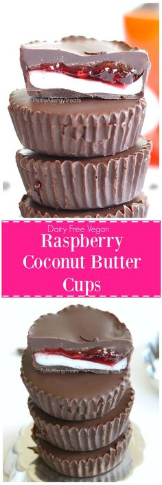 Raspberry Coconut Butter Cups Recipe (Vegan dairy free gluten free) Sweet chocolate filled with crunchy coconut butter and raspberry jelly! I think this would be better using marshmallow fluff instead of coconut butter Gluten Free Desserts, Just Desserts, Delicious Desserts, Yummy Food, Paleo Food, Paleo Vegan, Patisserie Vegan, Patisserie Sans Gluten, Candy Recipes