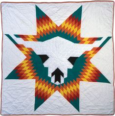 November 15: White Buffalo Skull Quilt Pattern Names: Lone Star Others: Unknown Sioux artisit. Period: 1976-1999 Date: 1993 Location Made: United States Project Name: Michigan State University Museum Collection Contributor: Michigan State University Museum. http://www.quiltindex.org/basicdisplay.php?kid=1E-3D-10F5#