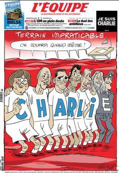 La UNE de l' @lequipe du jour : « On jouera quand même ! » #CharlieHebdo #JeSuisCharlie #sport -10 january 2015