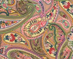 Cotton Fabric Print multicolored paisley print on a by pallavik, $6.50