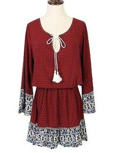 Shop Red Folk Print Tie Front Elastic Waist Long Sleeve Dress from choies.com .Free shipping Worldwide.$19.9
