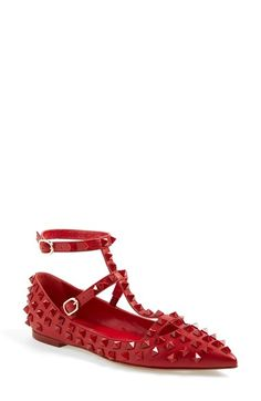Valentino 'Rockstud' T-Strap Pointy Toe Flat (Women) available at #Nordstrom
