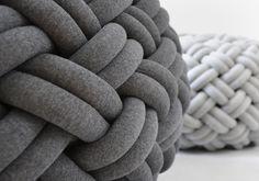 KNOTTY floor cushion Ø 50 cm light grey by kumekodesign on Etsy