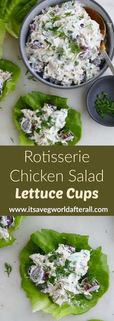Easy and healthy rotisserie chicken salad, made with fresh herbs, grapes, and Greek yogurt/mayo dressing, served on crunchy butter lettuce. Healthy Vegetable Recipes, Heart Healthy Recipes, Vegetable Dishes, Healthy Dinner Recipes, Healthy Meals, Lettuce Recipes, Chicken Salad Recipes, Lunch Recipes, Herb Recipes
