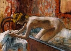 Woman Leaving Her Bath - Edgar Degas