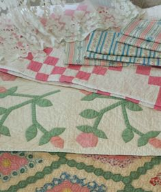 Beautiful spring antique quilts, laces, fabrics, just listed at Vintageblessings! http://stores.ebay.com/VintageBlessings
