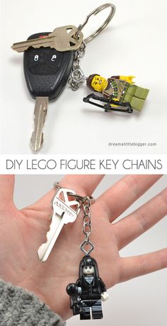Make these quick and easy LEGO figure key chains.