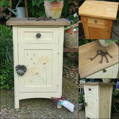 Shabby chic painted bedside cupboard / cabinet in Annie Sloan's cream with a rustic waxed top and subtle dandelion stencils, by Imperfectly Perfect xx