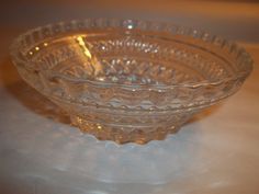 "Vintage clear glass bowl ornate diamond pattern candy nuts trinkets 5.5"" x 2"" picclick.com"