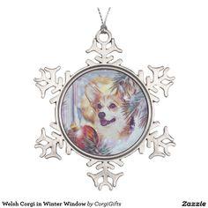Welsh Corgi in Winter Window Snowflake Pewter Christmas Ornament