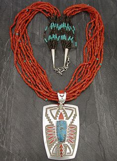 Silver turquoise and coral necklace by Michael Perry, Zuni