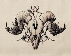 Ink pen skull drawing. by Maria Tiurina, via Behance
