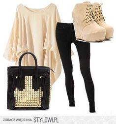 black jeggings - black/gold purse - cream lace up booties -  cream drape blouse
