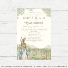 Peter Rabbit Baby Shower Invitation