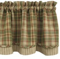 Amazing Country Primitive Sage Green Layered Valance Ticking Rustic Cottage Cabin