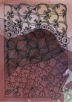 Zen Doodle WavesOfRed by Ruby OpalTones #doodles