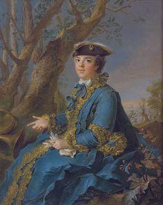 Louise Elisabeth de France, Duchess of Parma in her hunting dress by Jean-Marc Nattier.