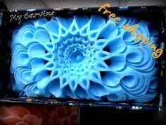 Hand Carved bar soap, mandala carving soap, blue carving soap, Thai carving…