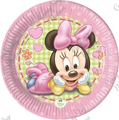 Baby Minnie Busta 8 pz. Baby Mickey, Minnie Mouse Party, Mouse Parties, Disney Babys, Baby Plates, Baby Shower, Baby Party, Paper Plates, Drawing S