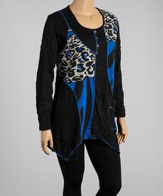 Loving this Black Leopard & Royal Blue Patchwork Sidetail Tunic - Plus on #zulily! #zulilyfinds