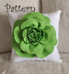 Felt rose pillow-green