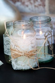 Vintage lace candle holders