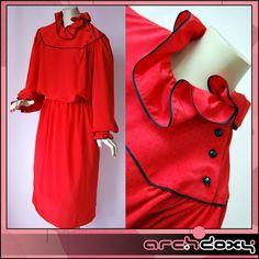 Vintage 1970s Designer Albert Nipon Red - Black Polka Dot BOHO Frilled Dress #vintagedress  http://www.ebay.co.uk/itm/Vintage-1970s-Designer-Albert-Nipon-Red-Black-Polka-Dot-BOHO-Frilled-Dress-10-/371655833866