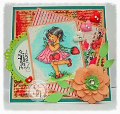 Dream Laine: A Perfect Summer's Day. Image:  Strawberry Girl from Mo Manning.  Spectrum Noir markers and pencils used: Skin: FGS2, FS4, FS6, TN2, CR3 + 03, 08, 09, 85 Hair: IG3 - 6, + 119, 120  Dress, flower, flip flops: PP1, PP2, CR6. CR8, DG2, DG3, + 01, 27, 32, 45, 47, 115 Grass and background: DG1-3, BT1-2, + 45, 47, 49, 67