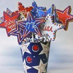 Make your of July party table unforgettable with these Patriotic cookie bouquet centerpieces. Cookie Bouquet, Candy Bouquet, Flower Cookies, Cute Cookies, Baby Cookies, Heart Cookies, Valentine Cookies, Easter Cookies, Birthday Cookies