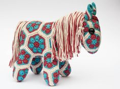 Crochet African Flower Pony Horse hand made in red by Woolbunnies