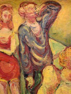 """BERNARD Emile,1887 - Au Cabaret (Orsay) - Detail 36  -  TAGS/ art painters peintres details détail détails detalles painting paintings peintures """"peintures 19e"""" """"19th-century paintings"""" tableaux Museum Paris France women woman fille girl girls """"jeune femme"""" """"young woman"""" """"young women"""" drink danse dance nightclub  night nuit dancer courtesan buveurs drinkers bottle bouteille verres glass man men hommes people fête feast auberge inn couple lovers amoureux amour love sultry sensual erotism…"""
