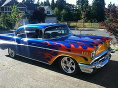 1957 Some times fire is a good thing 1957 Chevy Bel Air, Chevrolet Bel Air, Chevrolet Impala, Modern Muscle Cars, American Muscle Cars, Classic Hot Rod, Classic Cars, My Dream Car, Dream Cars