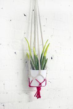 DIY: neon rope hanging planter