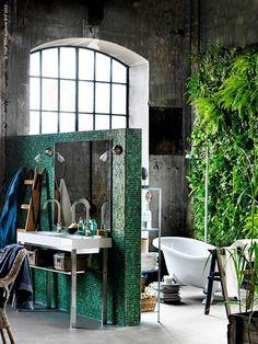Salle de bain avec mur végétal