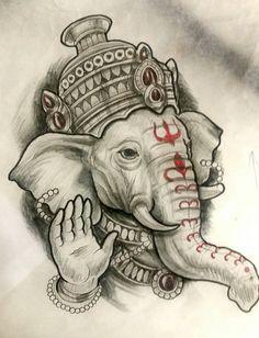 New tattoo watercolor animal tat Ideas Ganesha Drawing, Lord Ganesha Paintings, Ganesha Art, Shri Ganesh, Shiva Tattoo Design, Ganesh Tattoo, Shiva Art, Krishna Art, Mago Tattoo