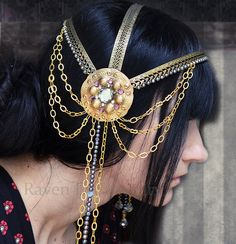 This is neat. Inspiration for halloween? Art Nouveau Headpiece Headdress La Belle Dame by ravenevejewelry, $395.00