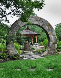 asian landscape by McHale Landscape Design, Inc - Moon Gate reminds of stargate. Asian Garden, Chinese Garden, Amazing Gardens, Beautiful Gardens, Garden Gates And Fencing, Fence Gates, Arch Gate, Asian Landscape, Desert Landscape