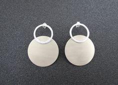 Stud Earrings – Stud Circle Earrings, Sterling Silver and Brass – a unique product by BlueMargarita via en.DaWanda.com #minimalistic