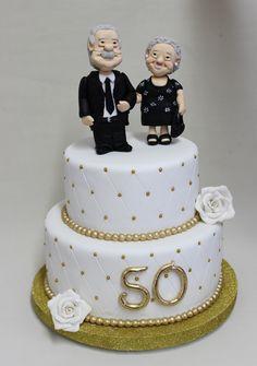 Bodas de Oro Cake Anniversary Cake Designs, 50th Wedding Anniversary Cakes, Golden Anniversary, Anniversary Parties, Wedding Cakes, Rodjendanske Torte, 50th Cake, Cake Templates, Cupcakes