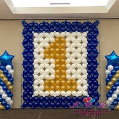 Birthday Balloon Wall and stage decor. Great way to celebrate a first birthday for your little Birthday Balloon Wall and stage decor. Great way to celebrate a first birthday for your little star. 1st Birthday Decorations Boy, 1st Birthday Balloons, Balloon Decorations Party, 1st Boy Birthday, 1st Birthday Parties, Stage Decorations, Baby Boy Balloons, Balloon Wall, Balloon Backdrop