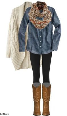 This whole ensemble is awesome! Brown boots, leggings, loose fitted shirt and sweater, fun scarf. Like the look and this color combo