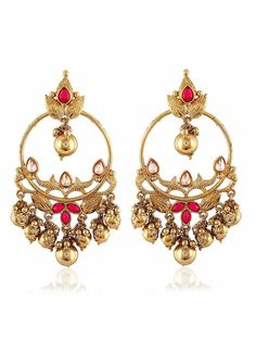 Pink & Gold Artificial Jewellery Earrings
