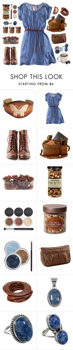 """""""blue & brown"""" by tinkertot ❤ liked on Polyvore featuring H&M, Liz Claiborne, John-Richard, Bare Escentuals, Target, Lug, Tassimo and Kenneth Jay Lane"""