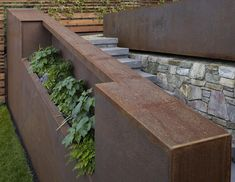 Image of: ideas metal planter boxes Landscaping A Slope, Landscaping Retaining Walls, Garden On A Hill, Home And Garden, Steel Retaining Wall, Corten Steel, Patio Windows, Garden Water Fountains, Metal Planter Boxes