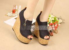 Elegant PU Wedge Heels Peep-toes Wedding Shoes