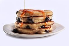 Blueberry Buttermilk Pancakes. a recipe to use up some leftover buttermilk. I'd suggest these are semi healthy, but that would be a lie, although I'd do it without the extra butter or maple syrup (yuck)
