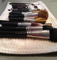how to clean make up brushes: a tablespoon of white vinegar in a cup of hot water, and a 20 minute soak, followed by a hot, then cold rinse and pat dry will do it. Disinfects, dissolves grease/makeup, leaves no film, and inexpensive.)