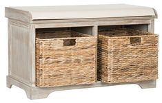 Safavieh Furniture - Sit back and relax. This pretty storage bench with distressed white pine frame and linen upholstered seat is perfect for changing shoes in entry hall, and Firewood Storage, Wood Storage Bench, Cubby Storage, Storage Baskets, Towel Storage, Cubby Bench, Bed Bench, Seat Storage, Basket Shelves