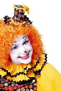 """Clown Pictures and moments of happy clown Noses! """"Sometimes the smallest mask is the easiest way to reveal your true self. Clown Nose, Clown Faces, Orange Red, Yellow Black, Clown Face Paint, Female Clown, Makeup Supplies, Send In The Clowns, Clowning Around"""