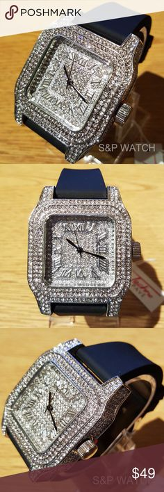 Iced Out Simulated Diamond Silicone band watch Brand : Techno Pave White Gold Finished Face and Dial Entire bezel and dial showered upon with immaculate white simulated lab diamonds Japan Quartz Movement Water Resistance for up to 200M Shock Resistance Perfect gift for your loved ones Length: 10.5 Inch Case Width: 49 mm Accessories Watches